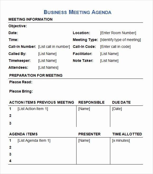 Sample Agenda Template for Meetings Lovely Business Meeting Agenda Template 5 Download Free