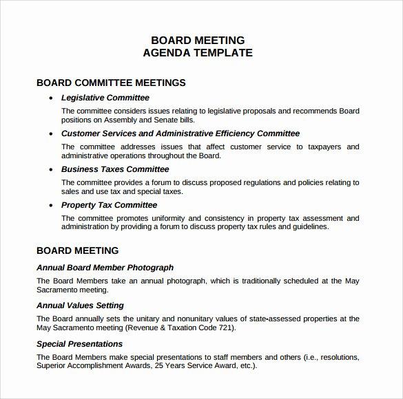 Sample Agenda Template for Meetings Lovely Sample Board Meeting Agenda Template 11 Free Documents