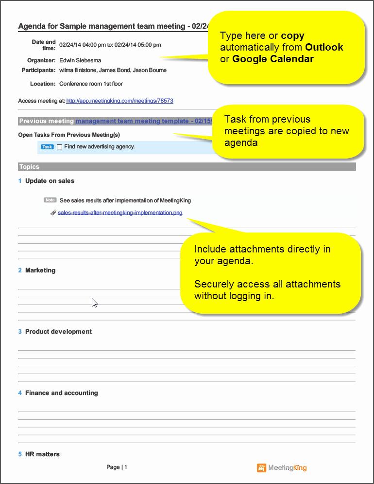 Sample Agenda Template for Meetings Lovely Sample Management Team Meeting Agenda Template