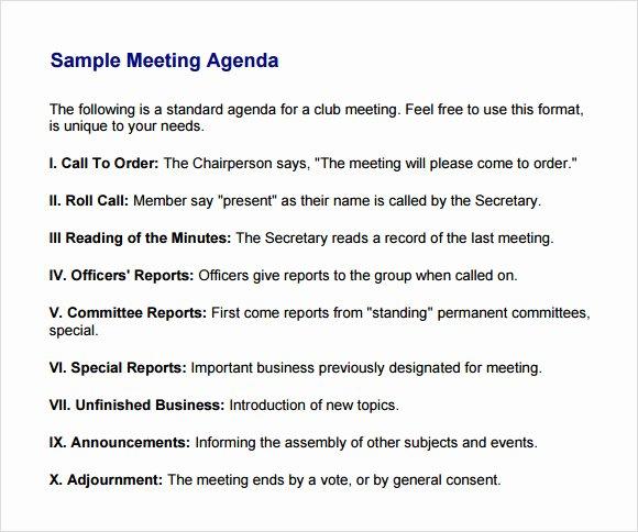 Sample Agenda Template for Meetings Luxury Business Meeting Agenda Template 5 Download Free