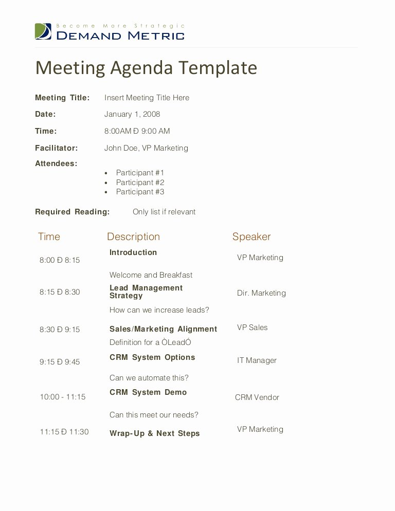 Sample Agenda Template for Meetings Luxury Meeting Agenda Template