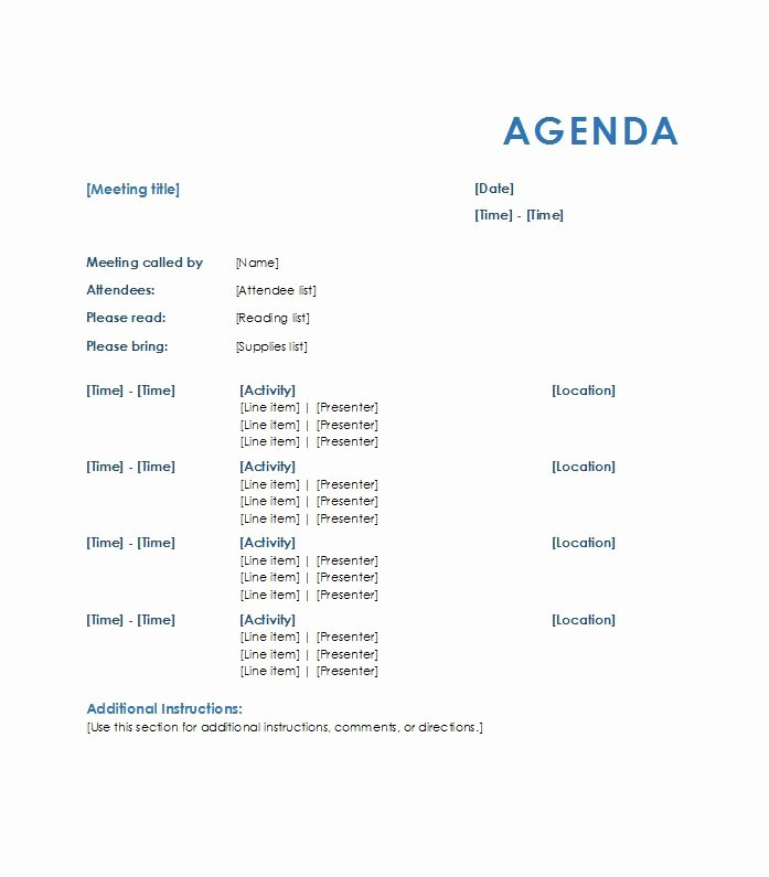 Sample Agenda Template for Meetings Unique 46 Effective Meeting Agenda Templates Template Lab