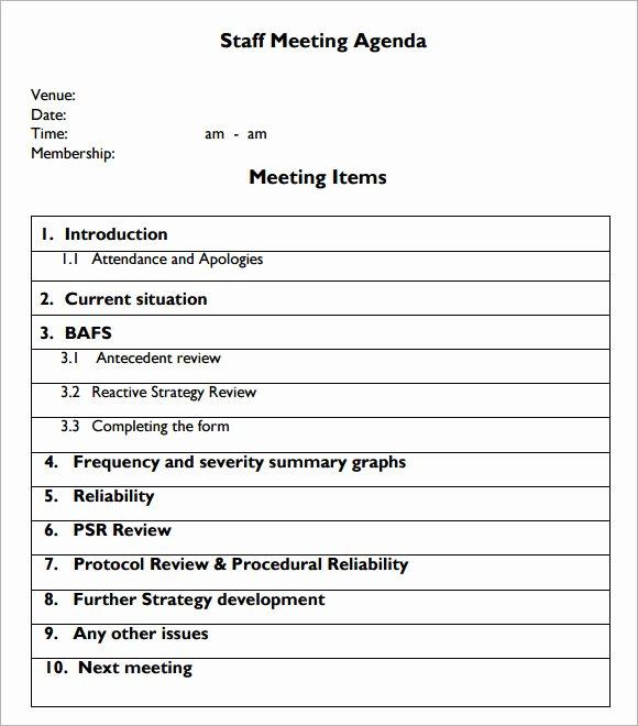 Sample Agenda Template for Meetings Unique Sample Staff Meeting Agenda – 5 Example format