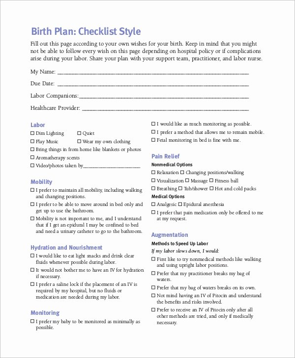 Sample Birthing Plan Template Awesome 10 Birth Plan Examples