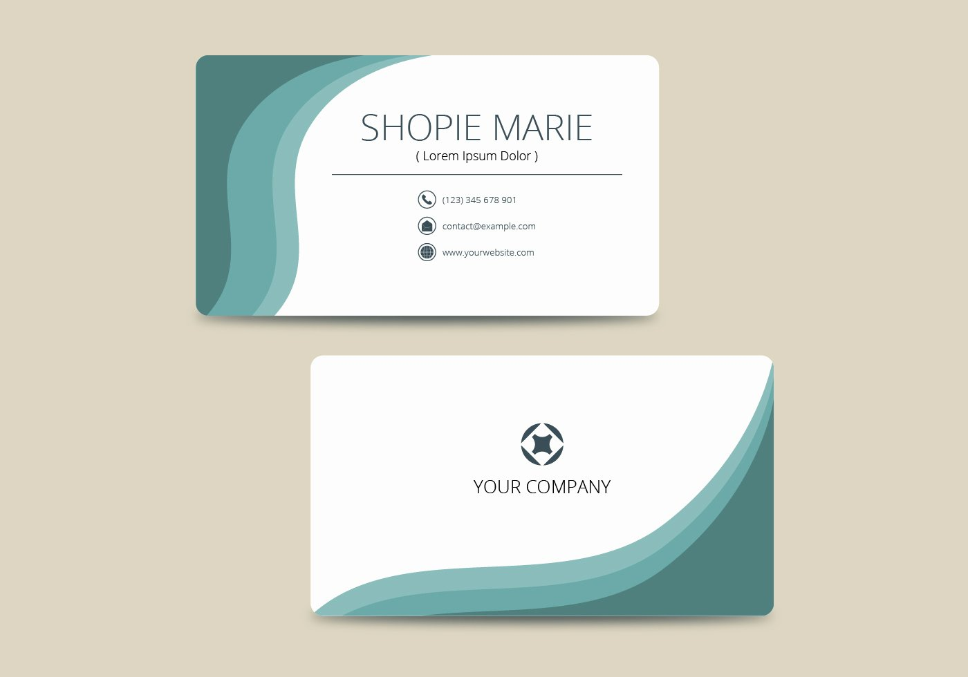 Sample Business Card Template Beautiful Teal Business Card Template Vector Download Free Vector