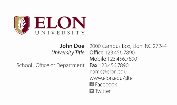 Sample Business Card Template Luxury Elon University Faculty Staff Business Cards