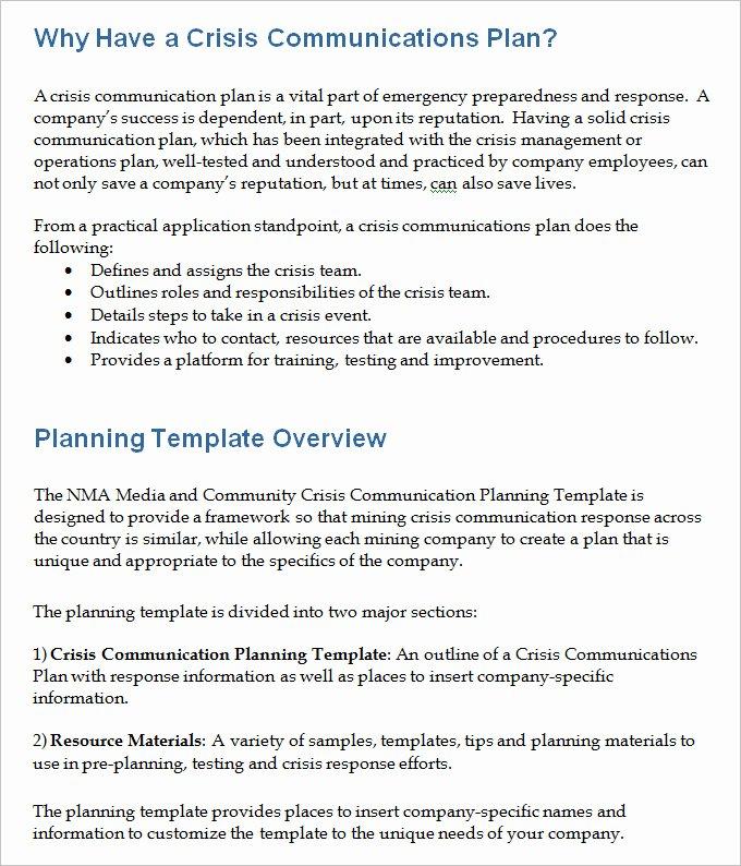 Sample Crisis Communication Plan Template Awesome 3 Crisis Munication Plan Templates Doc Pdf