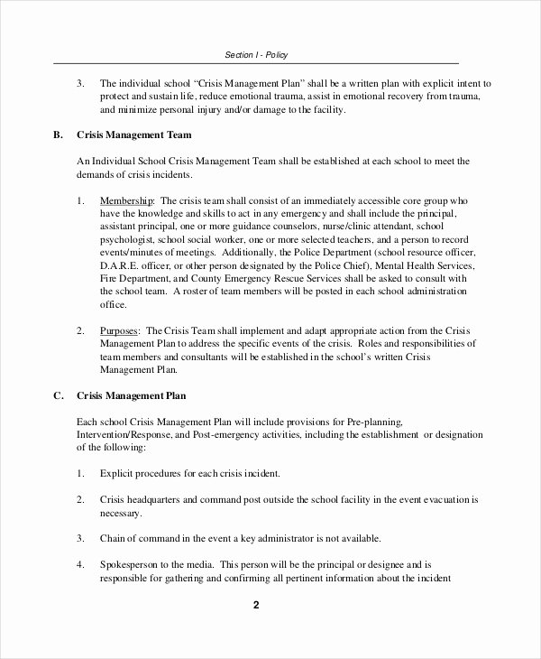 Sample Crisis Communication Plan Template Elegant Crisis Plan Template 9 Free Word Pdf Documents