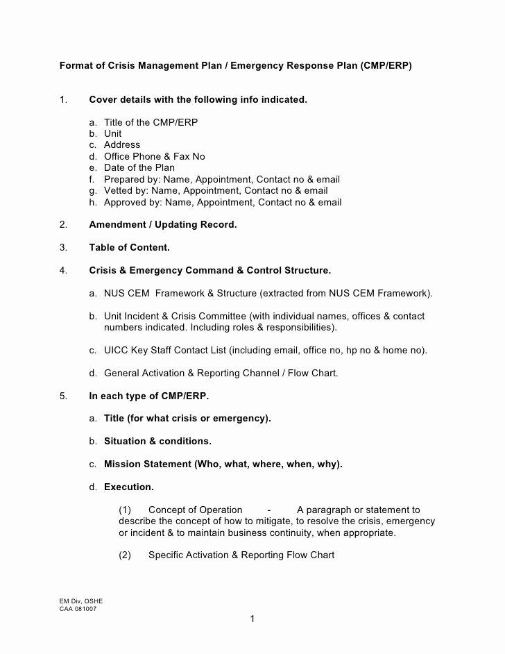 Sample Crisis Communication Plan Template Elegant format Of Crisis Management Plan Emergency Response Plan