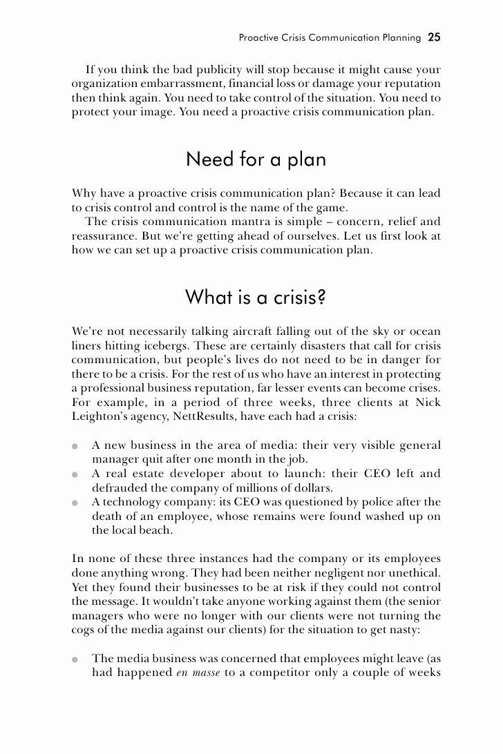 Sample Crisis Communication Plan Template Inspirational Crisis Munication