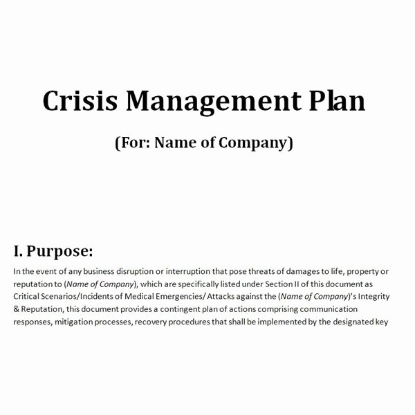 Sample Crisis Communication Plan Template Lovely Free Downloadable Template A Plan for Crisis Management