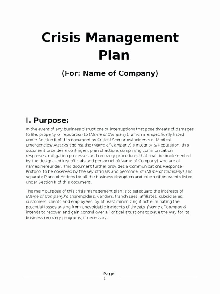 Sample Crisis Communication Plan Template Lovely Individual Crisis Management Plan Template Munication