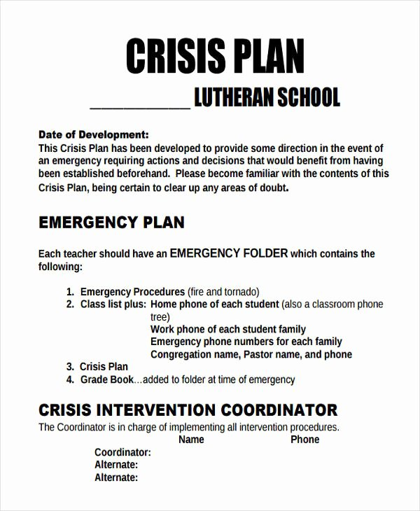 Sample Crisis Communication Plan Template Luxury 10 Crisis Plan Templates Sample Word Google Docs