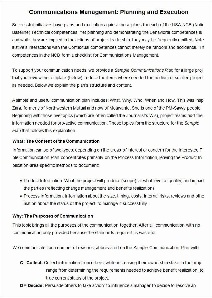 Sample Crisis Communication Plan Template New 10 Project Management Munication Plan Templates
