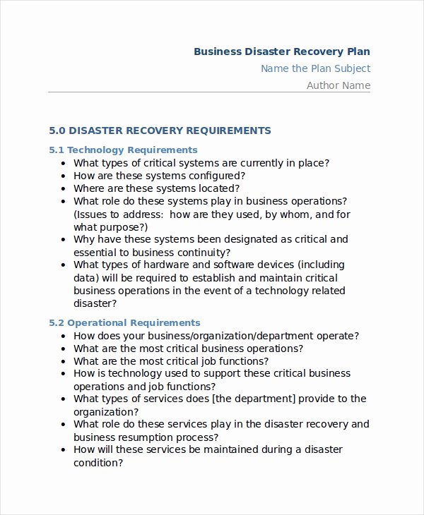 Sample Disaster Recovery Plan Template Fresh 12 Disaster Recovery Plan Templates Free Sample