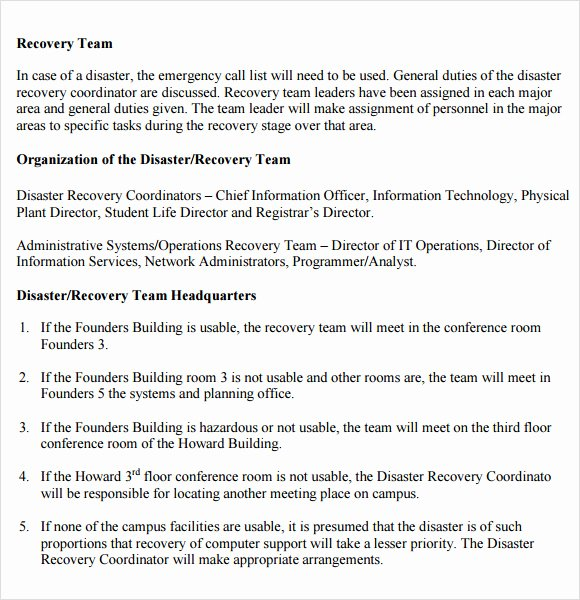 Sample Disaster Recovery Plan Template Lovely Sample Disaster Recovery Plan Template 7 Download Free