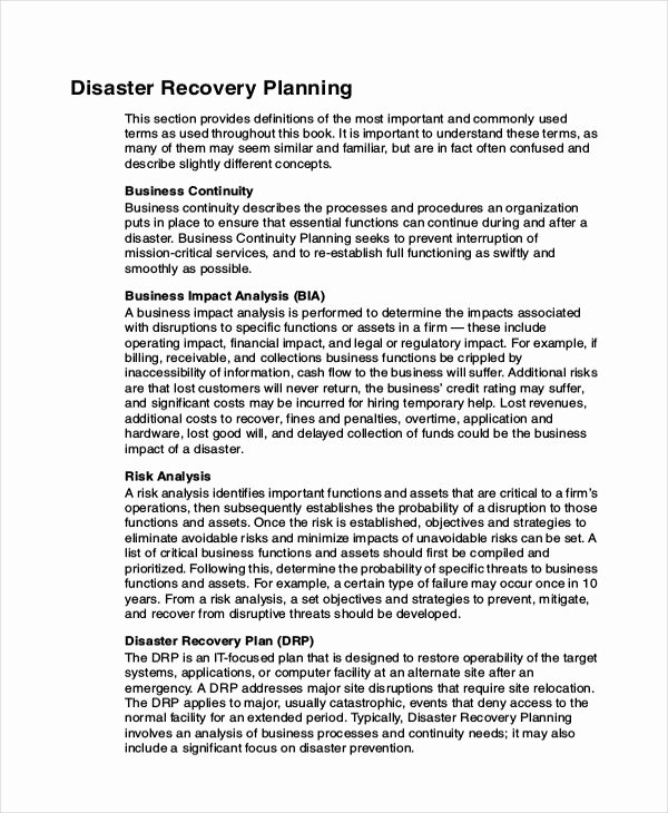 Sample Disaster Recovery Plan Template Luxury Database Disaster Recovery Plan Example