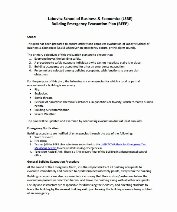 Sample Emergency Evacuation Plan Template Best Of 12 Evacuation Plan Templates Google Docs Ms Word