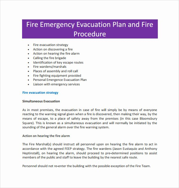Sample Emergency Evacuation Plan Template Inspirational 10 Evacuation Plan Templates