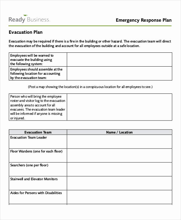 Sample Emergency Evacuation Plan Template Inspirational 27 Emergency Plan Examples