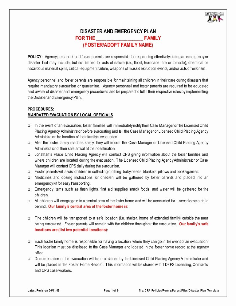 Sample Emergency Evacuation Plan Template Lovely Disaster Emergency Plan Template for Families