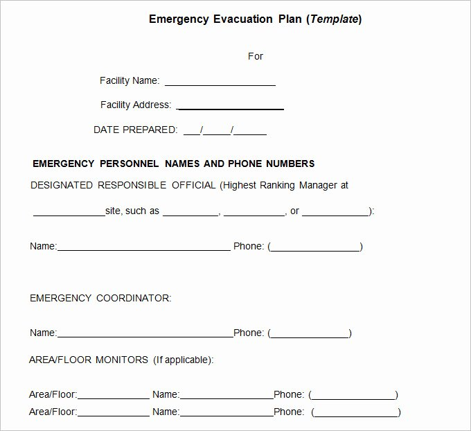 Sample Emergency Evacuation Plan Template Lovely Emergency Evacuation Plan Template 10 Free Word Pdf