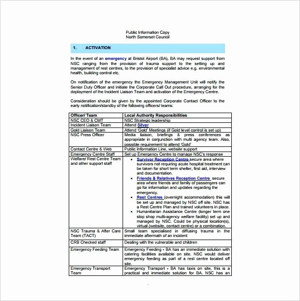 Sample Emergency Evacuation Plan Template Lovely Procedure Template Free Sample Standard Operating Fire