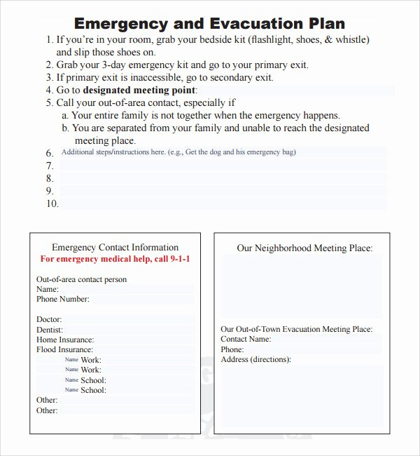 Sample Emergency Evacuation Plan Template New 10 Evacuation Plan Templates