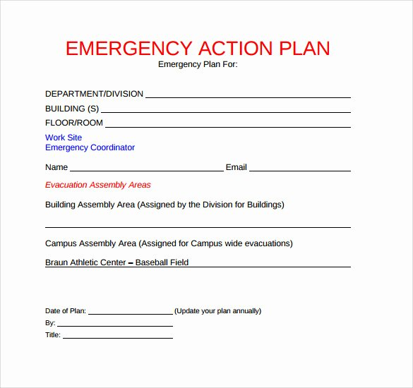 Sample Emergency Evacuation Plan Template New 11 Sample Emergency Action Plan Templates