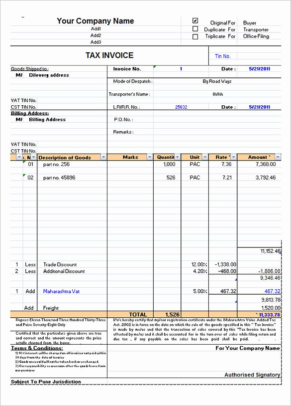 Sample Invoice Template Excel Best Of 60 Microsoft Invoice Templates Pdf Doc Excel