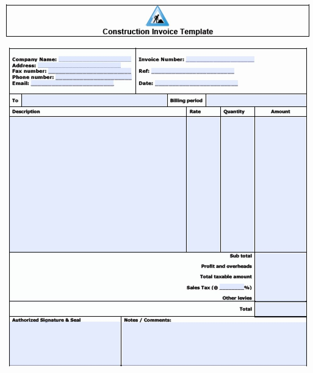 Sample Invoice Template Excel Elegant Construction Invoice Template Excel