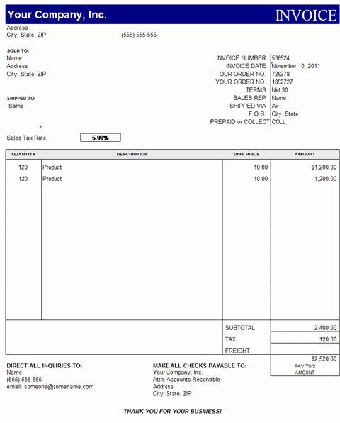 Sample Invoice Template Excel Elegant Quickbooks Invoice Template Excel