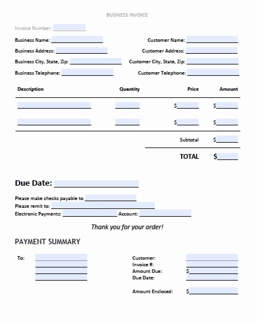 Sample Invoice Template Excel Fresh Sample Business Invoice Template – Free Printable Business