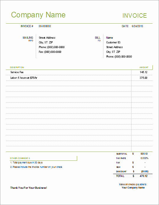 Sample Invoice Template Excel Luxury Simple Invoice Template for Excel Free