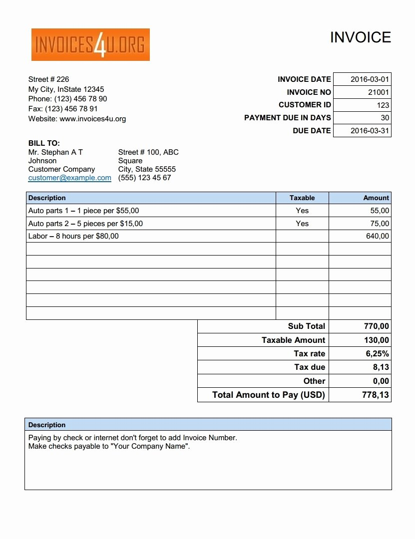 Sample Invoice Template Excel New Free Excel Invoice Template Download Invoice Template Ideas