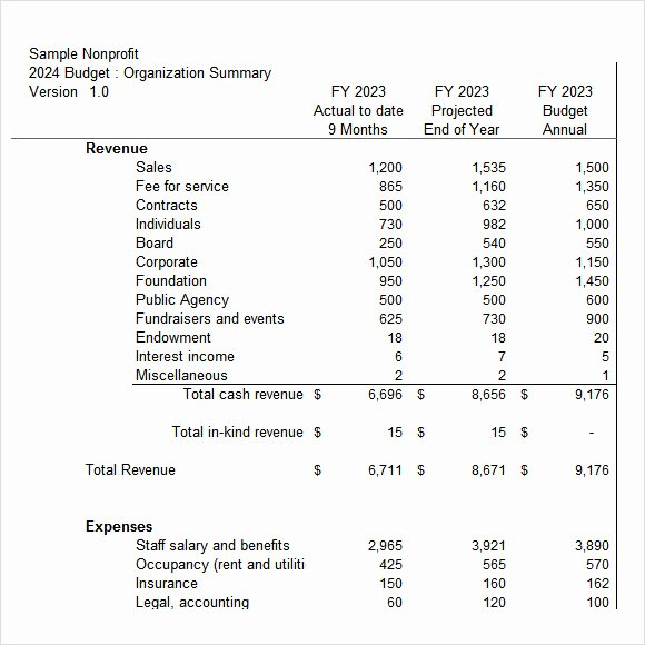 Sample Nonprofit Budget Template Awesome 7 Non Profit Bud Templates – Pdf Excel