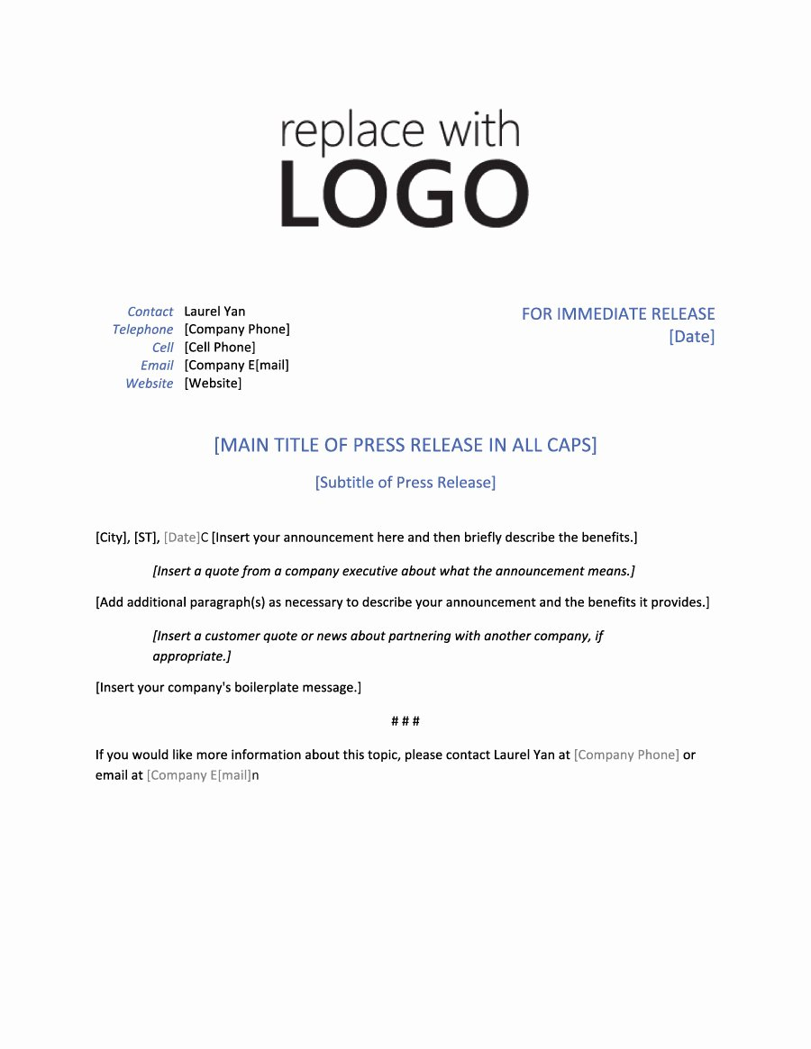 Sample Press Release Template Beautiful 46 Press Release format Templates Examples & Samples