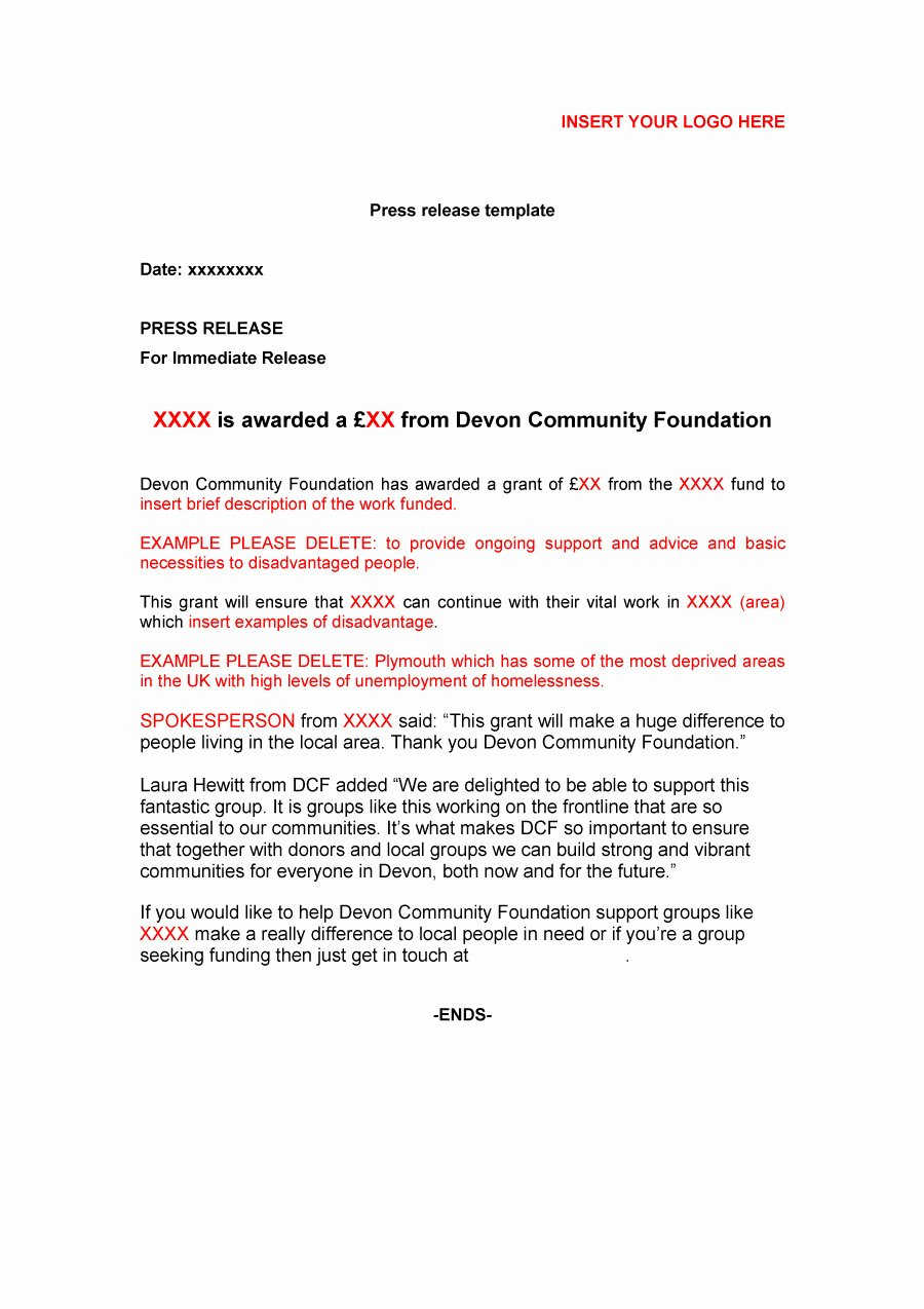Sample Press Release Template Best Of 46 Press Release format Templates Examples & Samples