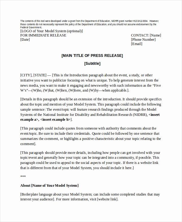 Sample Press Release Template Best Of Press Release Template 20 Free Word Pdf Document