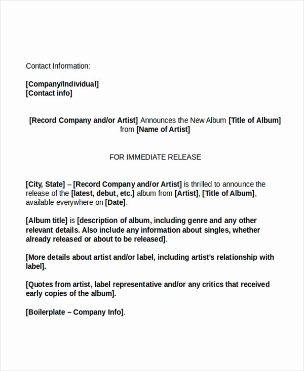 Sample Press Release Template Elegant 19 Press Release Templates Free Sample Example format