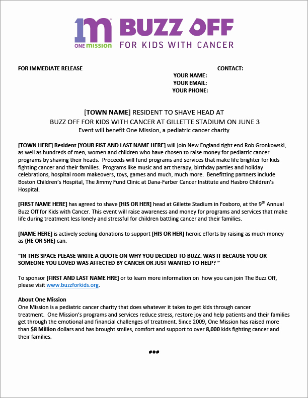 Sample Press Release Template Elegant Buzz for Kids Press Release Template & Instructions Buzz