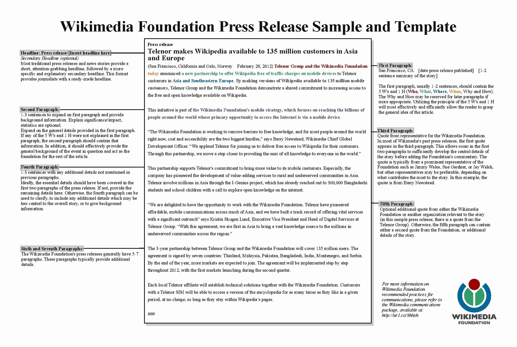 Sample Press Release Template Fresh File Wmf Press Release Template Sample Pdf Wikimedia