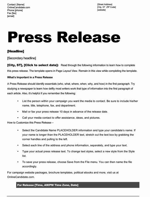 Sample Press Release Template Fresh School Board Campaign Press Release Template Slate Blue