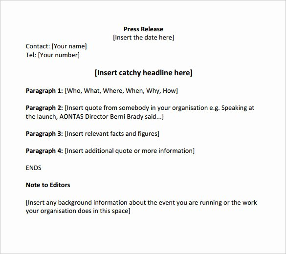 Sample Press Release Template Inspirational 14 Press Release Templates to Download
