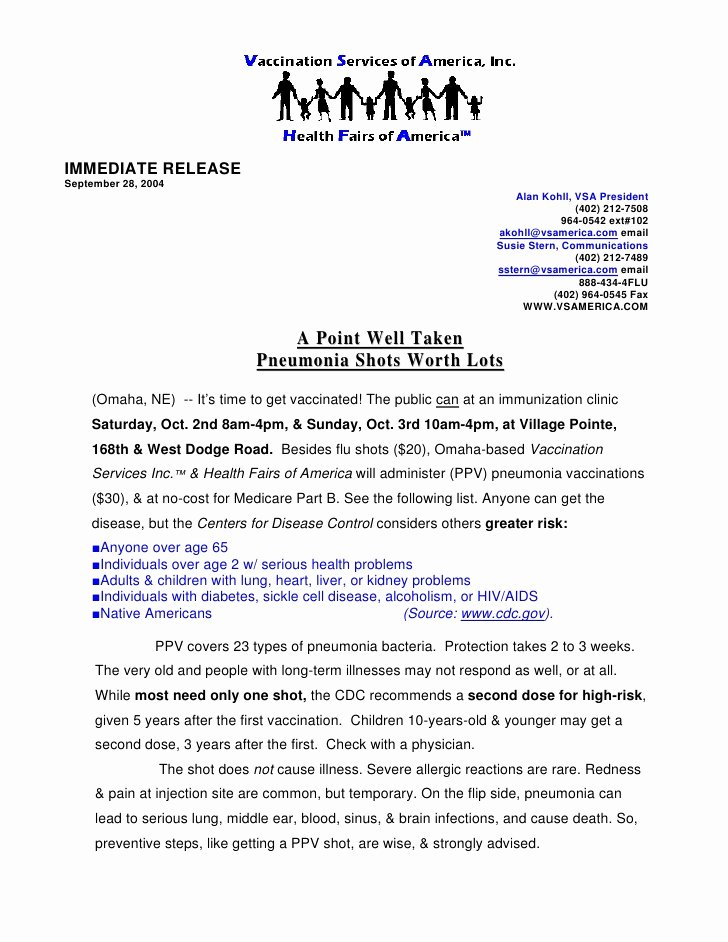 Sample Press Release Template Lovely News Release Sample 1