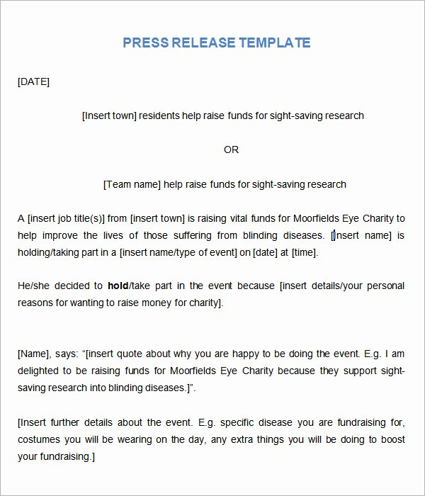 Sample Press Release Template New 8 Press Release Templates
