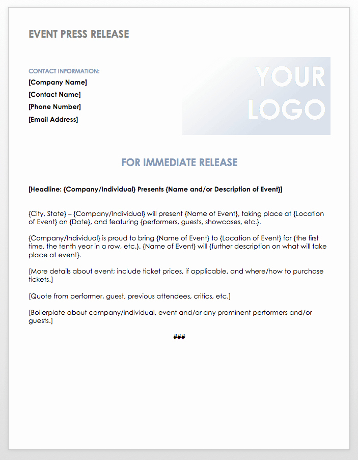 Sample Press Release Template New Free Press Release Templates