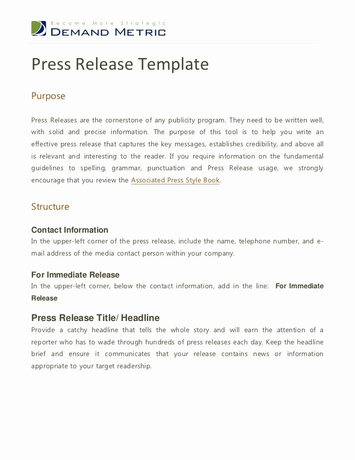Sample Press Release Template New Press Release Template