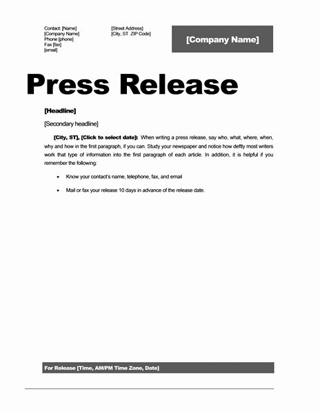Sample Press Release Template New Press Release Template