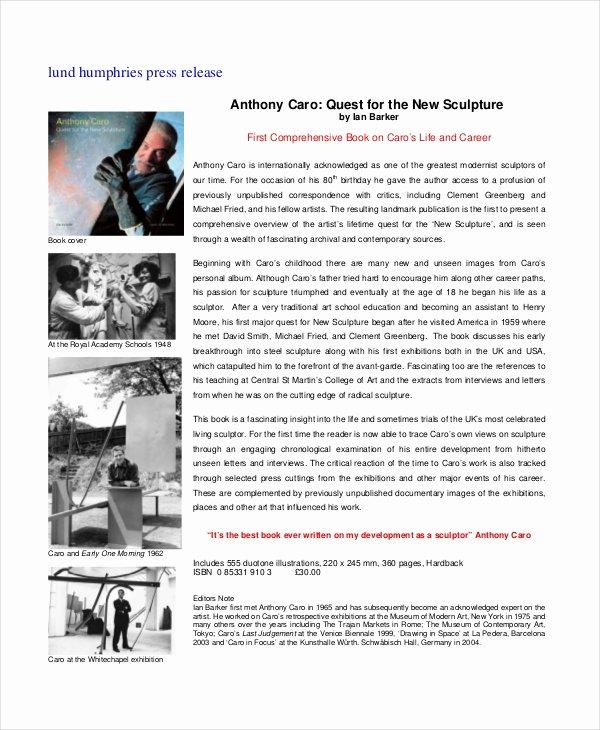 Sample Press Release Template Unique 22 Press Release Template Free Sample Example format